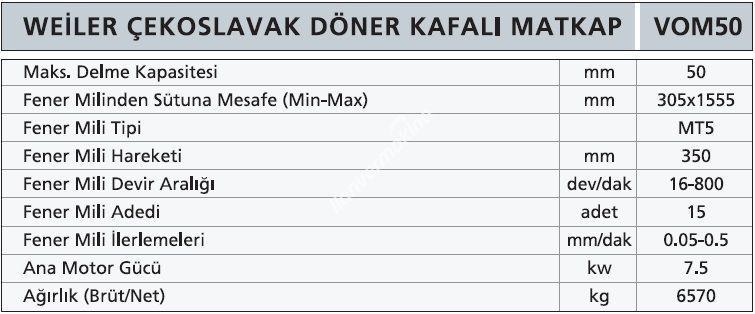 VOM50 - Weiler Çekoslavak Hareketli Kafa Radyal Matkap