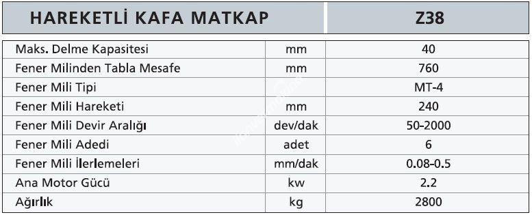 Z38 - Hareketli Kafa Matkap - OME