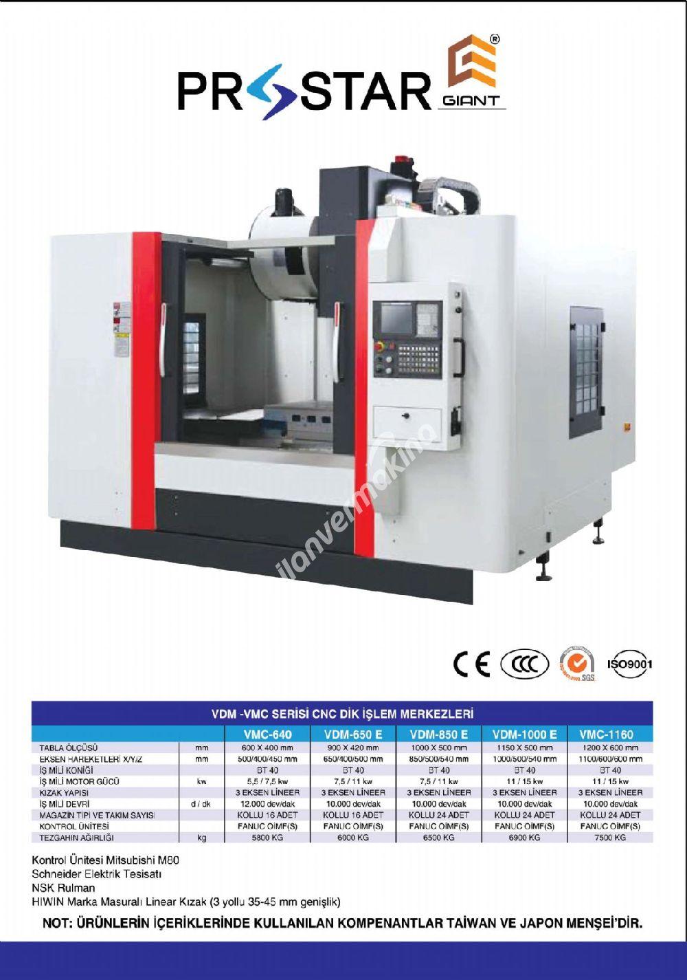 PROSTAR GIANT VMC 640 CNC DİK İŞLEM MERKEZİ